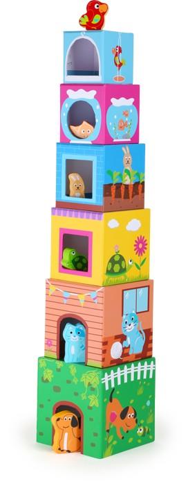 Small Foot Drevená hračka - Veža z kociek so zvieratkami