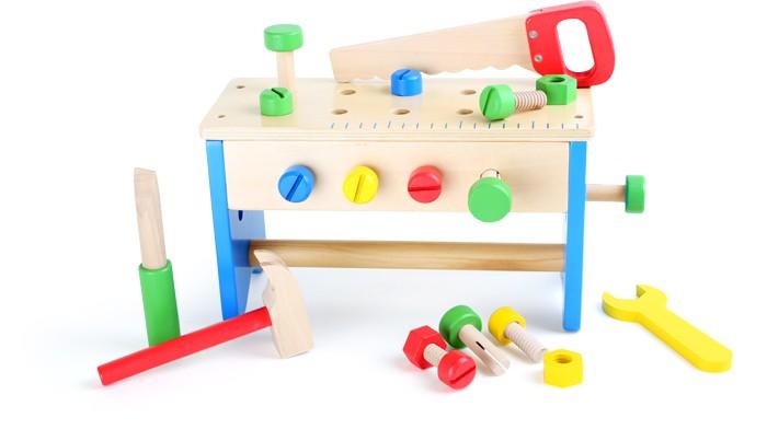 Small Foot Drevený pracovný stôl a box s náradím 2v1