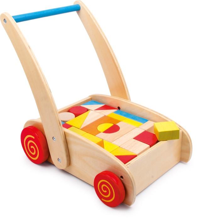 Small Foot Chodítko drevené kocky vo vozíku