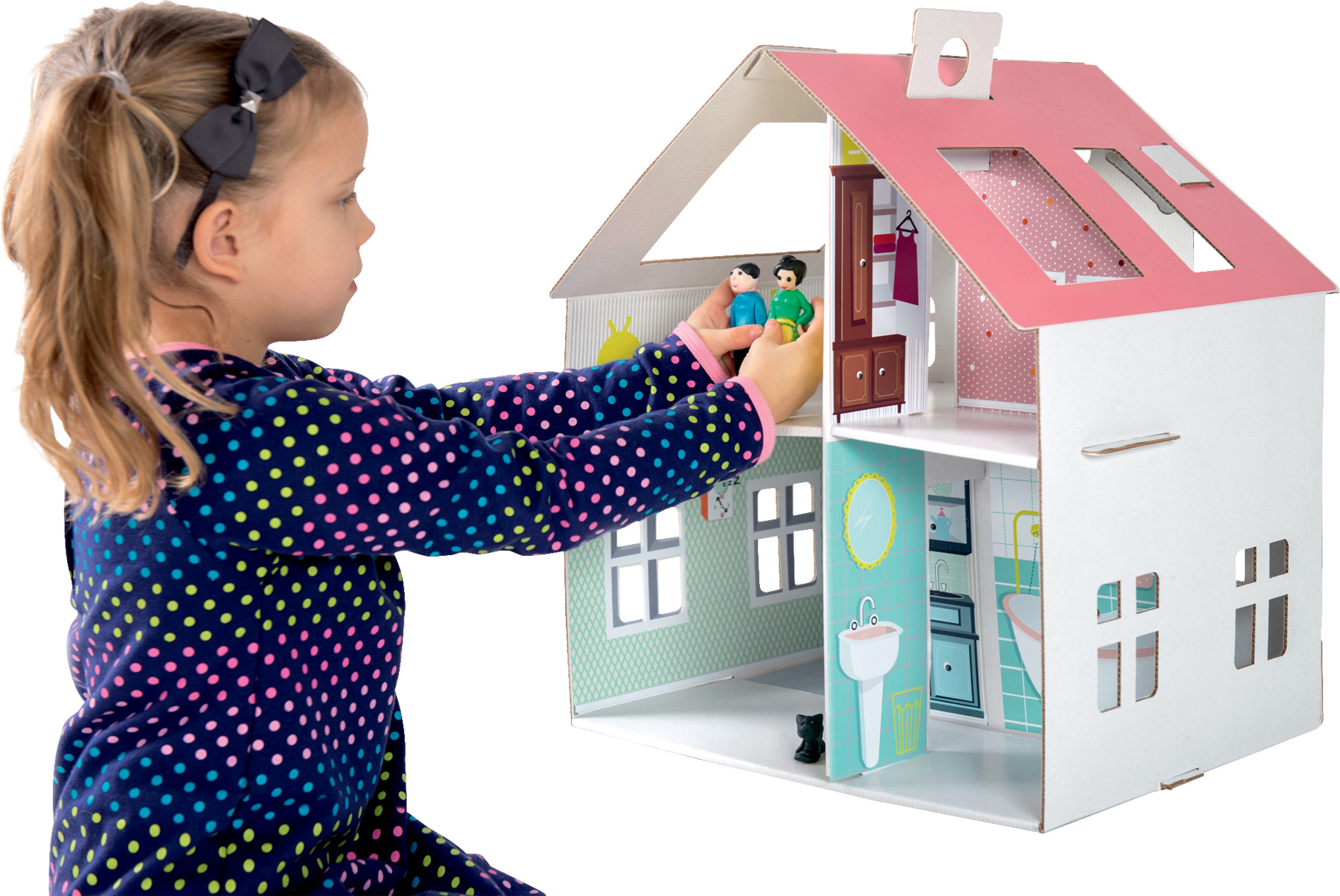 Small Foot Kartónový dom pre bábiky so samolepkami
