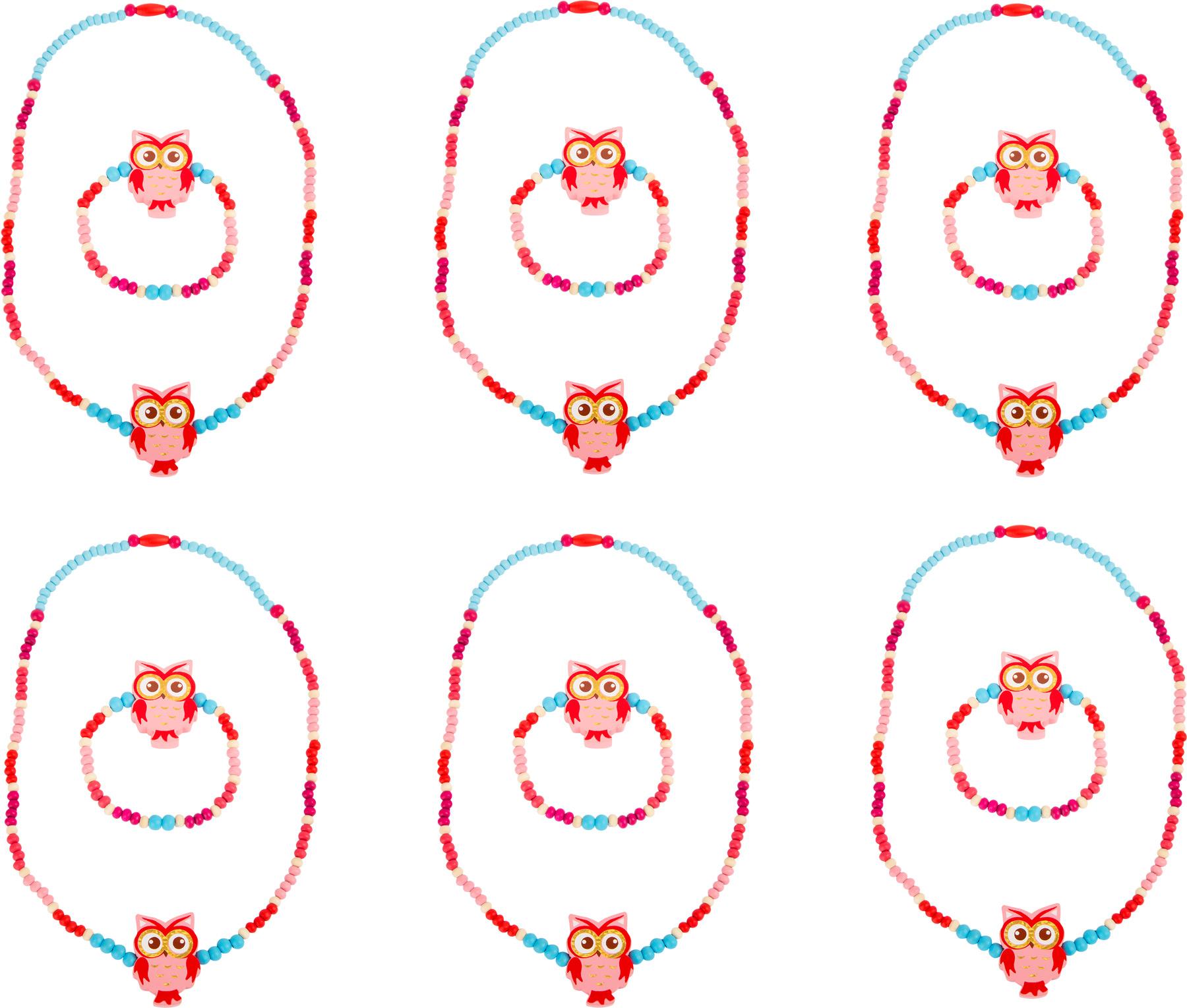 Drevené šperky so sovou, ružové 2ks