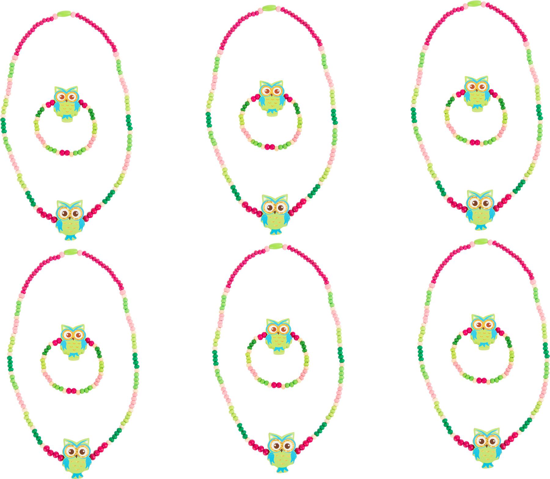 Drevené šperky so sovou, zelené 2ks