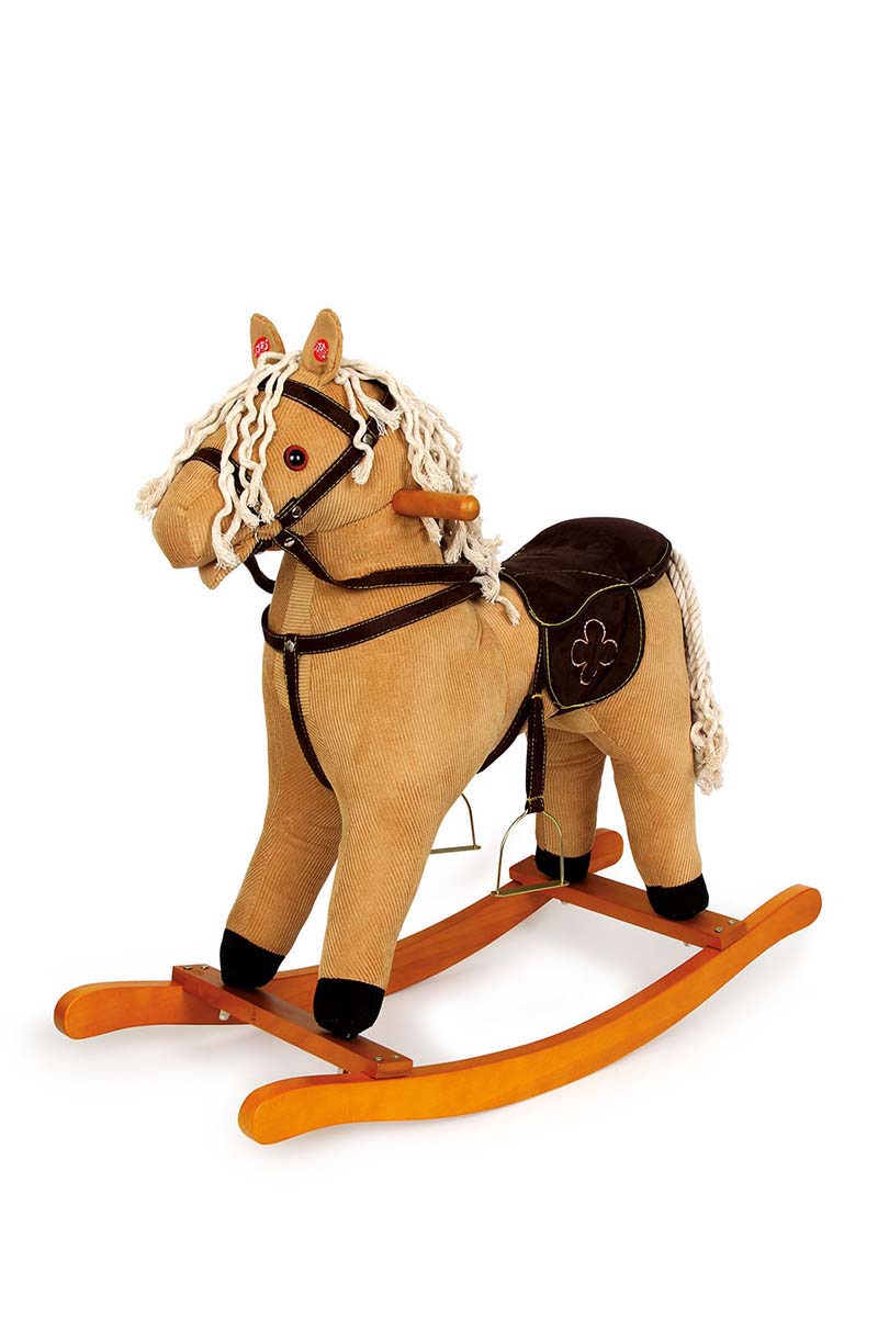 Small Foot Drevený hojdací Manšestrový kôň so zvukmi