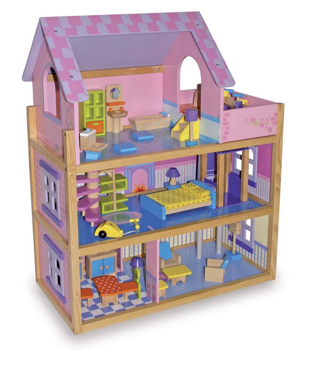 Small Foot Veľký drevený ružový domček pre bábiky