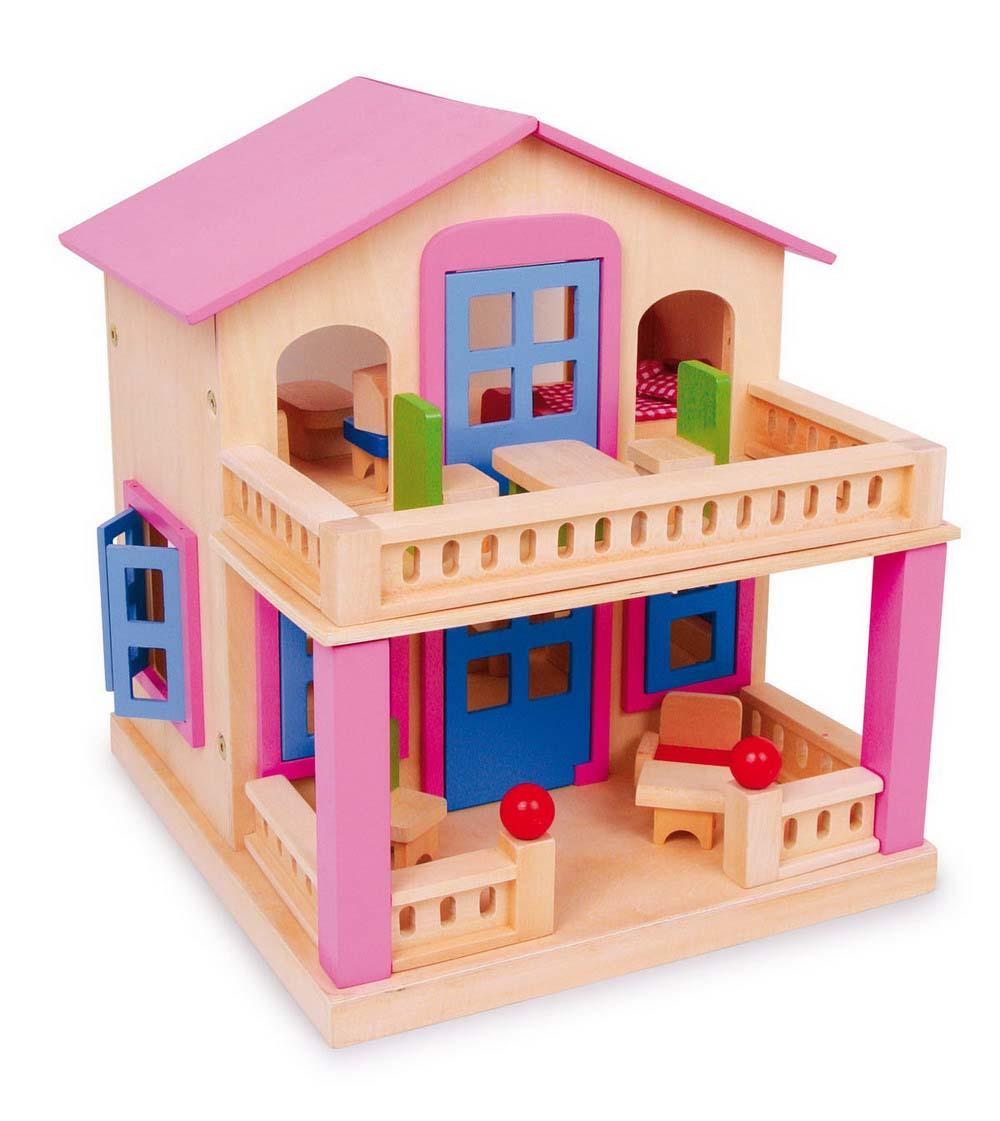 Small Foot Ružový domček pre bábiky s terasou Clara