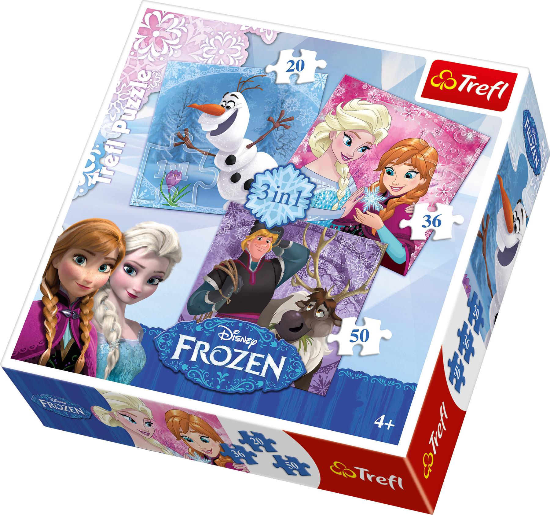 Small Foot Puzzle Ĺadové kráľovstvo 3v1 - Frozen
