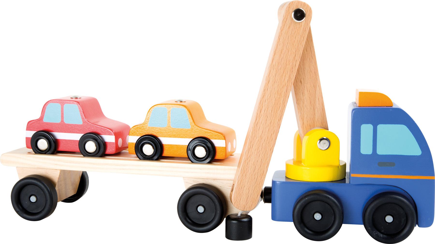 Small Foot Nákladné auto na prevoz áut so žeriavom