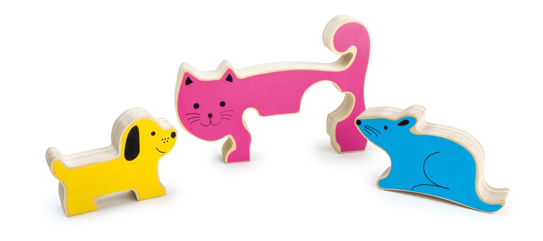 Small Foot Drevené 3D Puzzle vkladanie pes, mačka a myš