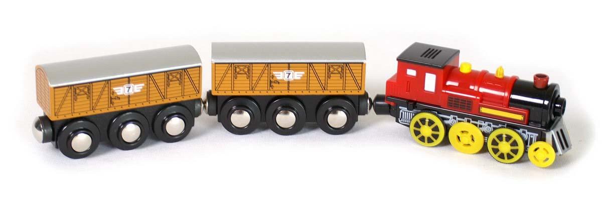 Small Foot Elektrická lokomotíva s dvoma nákladnými vagónmi