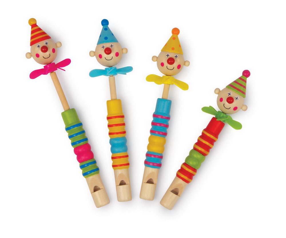 Small Foot Detská drevená píšťalka s klaunom a vrtuľkou