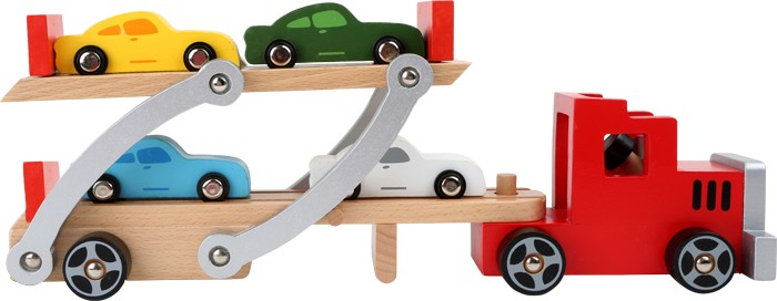 Small Foot Drevený kamión s autami